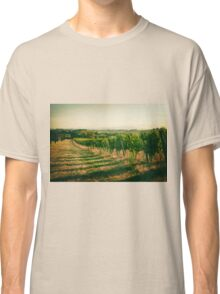 Vineyard fields in vintage style in Marche, Italy Classic T-Shirt