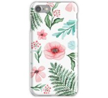 Watercolor Gentle Pink Flowers And Green Leaves iPhone Case/Skin