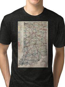 0114 Railroad Maps Railroad map of Indiana Tri-blend T-Shirt