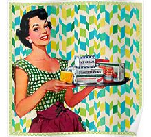 Oh the good old 1950 era. vintage,retro,1950,beautiful smiling lady holding ice-cream,butter and more on plate. Poster