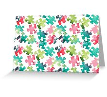 Watercolour Jigsaw Puzzle Pattern Greeting Card