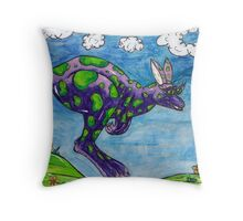 Priscilla the Purple Kangaroo Throw Pillow