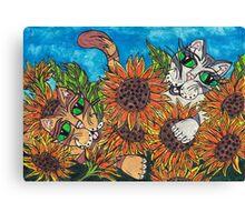 Sunflower Cats Canvas Print