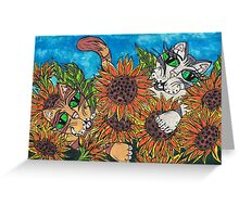 Sunflower Cats Greeting Card
