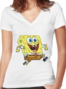 Sponge Bob Women's Fitted V-Neck T-Shirt