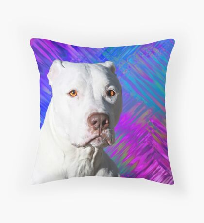 White American Pit Bull Terrier Dog Throw Pillow