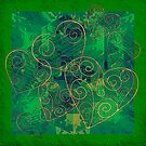 Golden Filigree Hearts on Green Abstract by Dana Roper