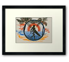 Surfing - Summer Sun and Palm Trees and Paint Brushes Framed Print