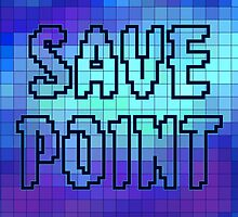 Save Point (Cool Toned Pixel Background) by CaffeinatedInk