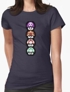 Mushroom Faces Womens Fitted T-Shirt