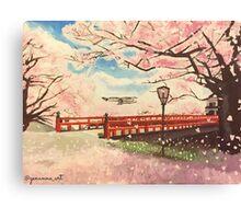 Japanese Cherry Blossom Painting Canvas Print