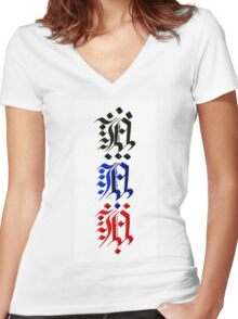 Three of A s Women's Fitted V-Neck T-Shirt
