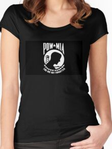 Prisoner of War, Missing in Action Flag, Full Size Version Women's Fitted Scoop T-Shirt