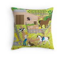 In the Farm Yard Throw Pillow