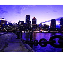 Boston Waterfront at Twilight Photographic Print