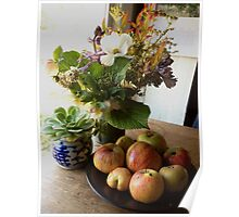 Garden Bouquet with Apples Poster
