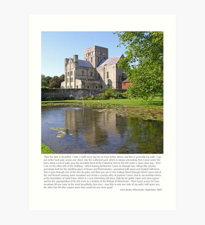 The poet John Keats describes his walks from Winchester to St Cross. Art Print