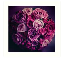 Wedding flowers. Pink and red roses. Vintage colors. Art Print