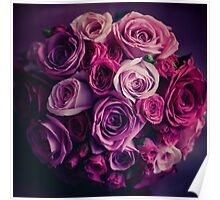 Wedding flowers. Pink and red roses. Vintage colors. Poster