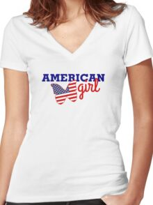 us girl Women's Fitted V-Neck T-Shirt