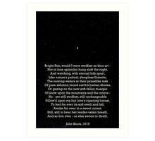 """Bright Star"" - a sonnet by John Keats; especially good as a card. Art Print"