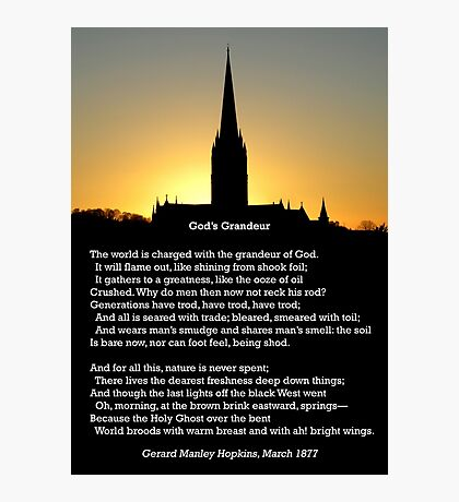 """""""God's Grandeur"""" by Gerard Manley Hopkins, especially good as a card. Photographic Print"""