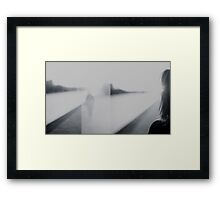 Lady looking at man Analog 35mm black and white lomo film photo Framed Print