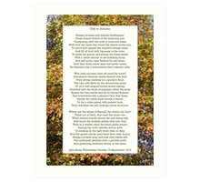 """""""Ode to Autumn"""" by Keats, especially good as a card. Art Print"""