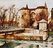 A digital painting of the Ghent Gate, Bruges, Belgium by Dennis Melling