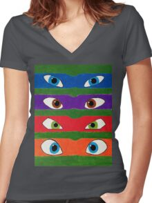 TMNT Lineup Women's Fitted V-Neck T-Shirt