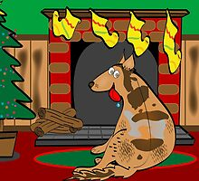 Koolie Christmas Card: Waiting for Santa by Diana-Lee Saville