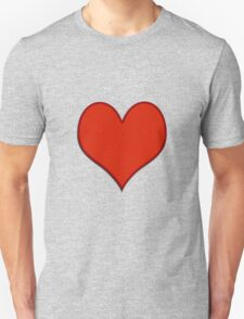 Love, red heart with small shadow Unisex T-Shirt