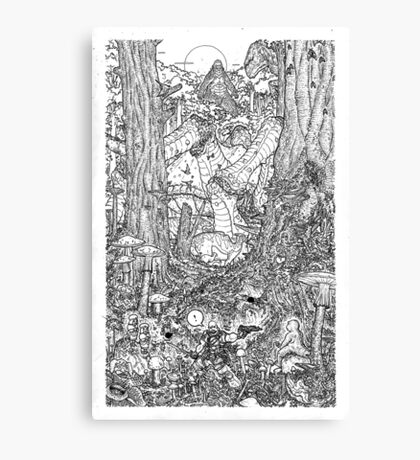 The Rock on Monster Island B/W Canvas Print