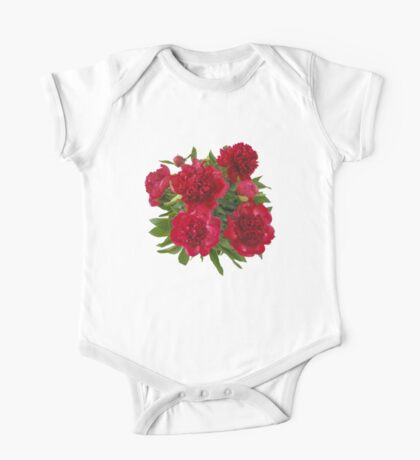 Red peony bouquet One Piece - Short Sleeve