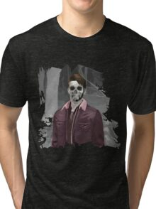 Wade Thornton Skeletal with background Tri-blend T-Shirt