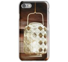 Old-fashioned lacy white lantern. Textured background. iPhone Case/Skin