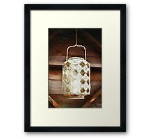 Old-fashioned lacy white lantern. Textured background. Framed Print