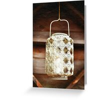 Old-fashioned lacy white lantern. Textured background. Greeting Card