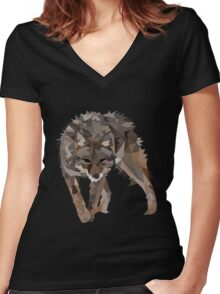 Poly Wolfie Women's Fitted V-Neck T-Shirt
