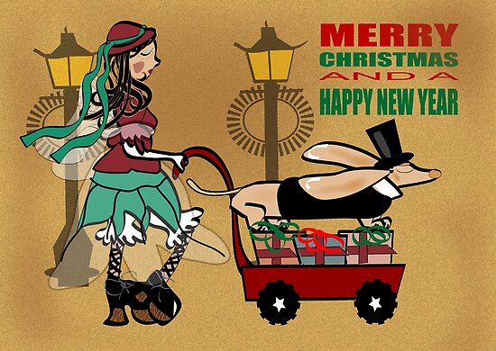 Steam Punk Sausage Dog Christmas Card by Diana-Lee Saville