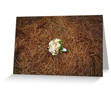 Wedding flowers on the hay field. Rustic style. Greeting Card