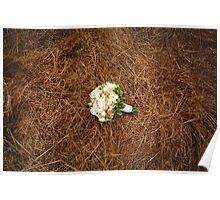 Wedding flowers on the hay field. Rustic style. Poster