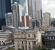 An abstract birds eye view of Spring Street Melbourne Vic Australia by Margaret Morgan (Watkins)