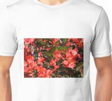 Pattern with red flowers and leaves. Unisex T-Shirt