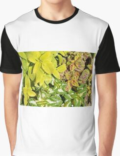 Pattern with colorful yellow green leaves. Graphic T-Shirt