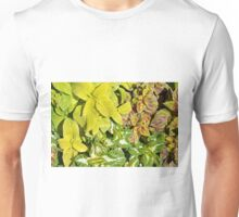 Pattern with colorful yellow green leaves. Unisex T-Shirt