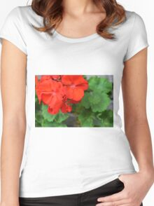 Red vivid flowers and green leaves Women's Fitted Scoop T-Shirt