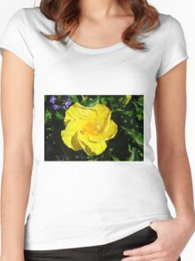 Yellow delicate flower on green leaves background Women's Fitted Scoop T-Shirt