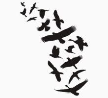 Flying Birds - black Kids Tee