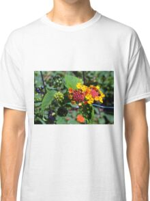Natural background with colorful flowers and green leaves. Classic T-Shirt